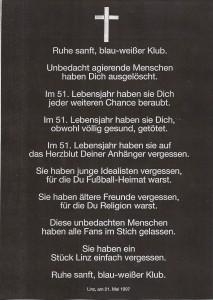 Unmittelbar nach Bekanntwerden der FC Linz-Liquidierung kursierte sofort diese Parte in Fan-Kreisen umher. Sammlung: oepb