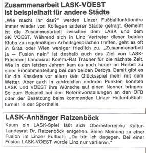 Faksimile aus der LASK-INFORMATION, einer zweimal jährlich erschienenen LASK-Stadionzeitschrift vom Herbst 1976. Sammlung: oepb