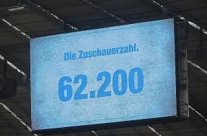 Jene 62.000 Zuschauer, die zum Leichenschmaus am 30. Mai 2017 gegen Jahn Regensburg (Relegations-Rückspiel, 0 : 2) in die Allianz-Arena gekommen waren, wird man so schnell zwar nicht mehr wieder verbuchen können, dennoch halten die Löwen-Fans ihrem Team auch in Liga 4 die Treue. Foto: oepb