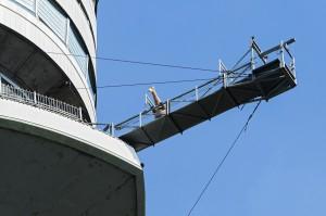 Es muss ja nicht gleich ein Bungee-Sprung aus über 150 Meter Höhe sein. Der herrliche Ausblick auf die gute alte unten sich ausbreitende Wiener Stadt genügt ja auch. Foto: Daniel Zupanc