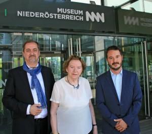 V.l.: Reinhard Linke (Moderation), Widerstandskämpferin Käthe Sasso, Matthias Pacher (Geschäftsführer Museum Niederösterreich). Foto: Museum NÖ
