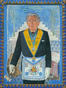 Alexander Giese als Großmeister, Reproduktion eines Gemäldes von Herbert Stepan, 1988. Foto: Großloge Österreich