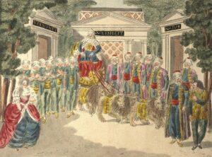 """Szenenbild von Mozarts """"Zauberflöte"""", 1. Akt, 18. Auftritt, """"Es lebe Sarastro"""", Kolorierter Kupferstich von Joseph Schaffer, um 1794. Foto: Österreichische Nationalbibliothek"""