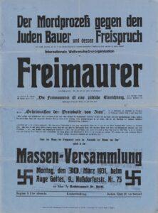 Der Mordprozeß gegen den Juden Bauer […], Plakat, 1931. Foto: Österreichische Nationalbibliothek