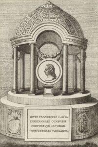 Tempel mit einem Medaillon des Kaisers Franz Stephan von Lothringen, Kupferstich von Jac. Mercorus, um 1780. Foto: Österreichische Nationalbibliothek