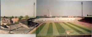 """Blick ins """"Städtische Stadion an der Grünwalderstraße"""". Beide Aufnahmen ..."""