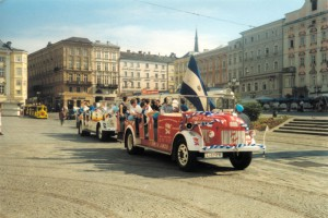So klein fing vieles an. VÖEST´ler trafen sich am Linzer Hauptplatz um zum Derby gegen die LASK Amateure in die Neue Heimat zu fahren, damals, im Mai 1999. Foto: Johann Schornsteiner