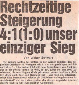 Auswärtsspiel trotz Heimrecht in der Südstadt. 5.000 Violette reisten ihren Veilchen im Oktober 1974 nach Maria Enzersdorf nach. Sammlung: oepb