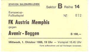 Heimspiel in Salzburg-Lehen! Nur sehr wenige Wiener Violette folgten ihrer Austria am 1. Oktober 1986 zum Rückspiel in die Salzach-Metropole. Sammlung: oepb