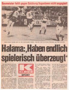 KURIER-Faksimile vom 24. August 1983. Die Austria jettet nach Athen und spielt dort gegen AEK im Zuge eines Freundschaftsspieles 1 : 1. Sammlung: oepb