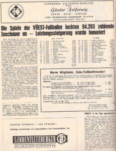 Zuschauer-Statistik beim SK VÖEST Linz 1971/72. Faksimile VÖEST-SPORT Nummer 56 / Juli 1972. Sammlung oepb