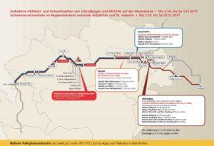 Grafik über die Sperre der Weststrecke zwischen Amstetten und St. Valentin 2017: Bild ÖBB / heiderklausner