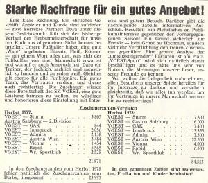 Zuschauer-Statistik beim SK VÖEST Linz im Herbst 1978. Faksimile VÖEST-SPORT Nummer 133 / Dezember 1978. Sammlung oepb