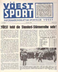Der SK VÖEST Linz sportlich und in der Publikums-Gunst am Plafond von Österreich. Faksimile VÖEST-SPORT Nummer 132 / November 1978. Sammlung oepb