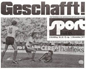 Faksimile sport-funk vom 1. November 1977. Sammlung: oepb