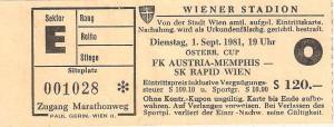 Matchkarte vom ÖFB-Cup Achtelfinale zwischen Austria und RAPID (2 : 1) vom 3. September 1981 im Praterstadion. Sammlung: oepb