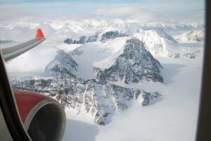 aiberlin-Überflug über das höchste Gebirgsmassiv Spitzbergens. Foto: airberlin