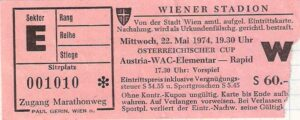 Matchkarte vom ÖFB-Cup Semifinale zwischen Austria und RAPID (4 : 1) vom 22. Mai 1974 im Praterstadion. Sammlung: oepb