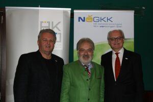 Von links: Gerhard Hutter / Obmann der NÖGKK, MR Dr. Dietmar Baumgartner / Vizepräsident und Kurienobmann der NÖ Ärztekammer, sowie Mag. Jan Pazourek / Generaldirektor der NÖGKK. Foto: NÖ Ärztekammer