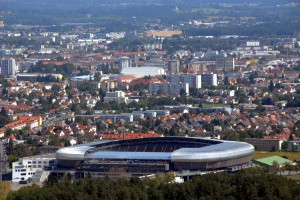 Blick auf das Wörthersee Stadion zu Klagenfurt im Stadtteil Waidmannsdorf. Foto: Hans Jaritz
