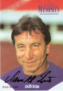 Erich Schreitl-Autogrammkarte als Tormann-Trainer beim FK Austria Wien aus der Saison 1996/97. Sammlung: oepb