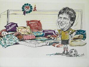 Aus Anlass seinen 70. Länderspieles am 17. Mai 1983 (2 : 2 gegen die UdSSR in Wien) wurde diese Friedl Koncilia Karikatur angefertigt. Im Hotel Oase in Bad Ischl kann man diese bewundern. Foto: oepb