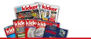 Blick auf die Produkt-Palette des kicker-sportmagazins. Foto: kicker.de