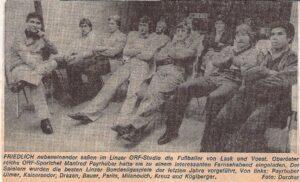 Die Kicker von LASK und VÖEST lagen ihm immer am Herzen. Und wenn es sportlich nicht so lief, wie beispielsweise im Herbst 1980, lud Manfred Payrhuber die Fußballer kurzerhand zu einem Videoabend ins Landesstudio OÖ ein. Faksimile: OÖ-Nachrichten / Oktober 1980