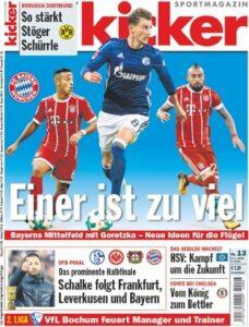 Die aktuelle Ausgabe des kicker-sportmagazins Nr. 13 vom 8. Februar 2018. Foto: kicker.de