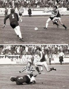 Auch in dieser Szene blieb Friedl Koncilia erfolgreich, wenngleich die Austria trotzdem verlor. Edmund Kaczor (Bildmitte) traf an diesem Tag zweimal. Rechts der Austrianer Franz Zore. Aus LASK gg. FK Austria Wien, 2 : 0 (0 : 0) vom 3. April 1982. Foto: Erwin H. Aglas/oepb