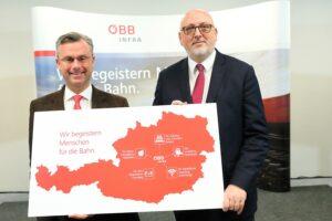 In einem Pressegespräch haben Bundesminister Norbert Hofer (links) und ÖBB Vorstandsvorsitzender Andreas Matthä die Investitionsprojekte für die Ostregion präsentiert. Foto: ÖBB/Andreas Scheiblecker