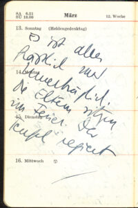 13. März 1938: Kalendereintrag Hilde Spiels notiert im Londoner Exil. Foto: ÖNB