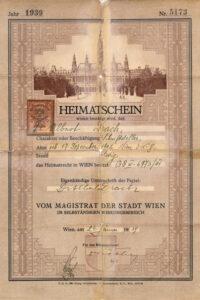 Heimatschein von Albert Drach, falsch interpretiertes Dokument als Lebensretter, 1939. Foto: ÖNB