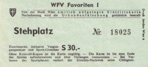 Eintrittskarte von der Premiere am 26. August 1973 in Wien-Favoriten. Aus FK Austria Wien gegen First Vienna FC (4 : 1). Sammlung: oepb