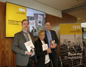 Erika Rosenberg, hier flankiert von Reinhard Linke und Christian Rapp, sprach am 10. April 2018 im Haus der Geschichte im Museum Niederösterreich Tacheles. Foto: Museum Niederösterreich