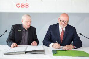 Greenpeace-Geschäftsführer Alexander Egit (links), sowie ÖBB-Vorstandsvorsitzender Andreas Matthä vereinbarten am 7. Mai 2018 den Fortschritt und Ausbau der gemeinsamen Zusammenarbeit. Foto: ÖBB / Andreas Scheiblecker