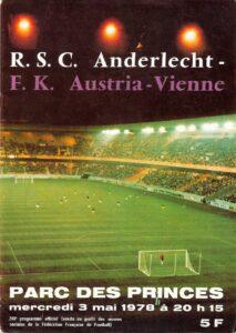 Cover des offiziellen Match-Programms. Sammlung: oepb