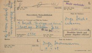 Entlehnschein, 1949. Foto: Nosbüsch & Stucke