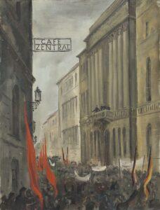 Ausrufung des Staates Deutschösterreich vor dem NÖ Landhaus in Wien 1918. Gemälde Maximilian Frey, um 1948. Sammlung: Landessammlungen NÖ / Foto Christoph Fuchs