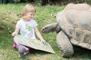 Wimmelbuch-Fan Katharina und Seychellen Riesenschildkröte Menschik. Foto: Daniel Zupanc