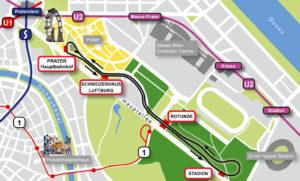Vom Prater-Hauptbahnhof zum Stadion und zurück. Blick auf den Lageplan der Liliputbahn. Grafik: Liliputbahn
