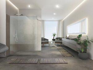 Bei der Artweger ZERO wird das Duschglas an Wand und Boden mit transparenten Dichtungen fixiert. Dadurch entsteht eine besonders schmale, gleichmäßige und silikonfreie Fuge. Foto: Artweger