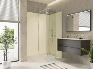 Kleine Badezimmer sind ein Fall für die Artweger ZERO Walk In VARIO. Sie kombiniert ein fixes Glasteil mit einem 360° beweglichen Glasteil, das sich um 180 Grad nach innen und 180 Grad nach außen wegschwenken lässt. Das bedeutet freien Zugang zum offenen Duschplatz auch in beengten Situationen. Foto: Artweger