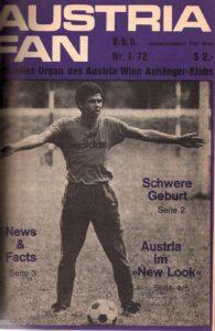 Helmut Köglberger mit 26 Jahren auf dem Titelblatt des AUSTRIA FAN, der damaligen Stadion-Zeitschrift des FK Austria Wien. Köglberger wohnte übrigens in Simmering in der Grillgasse 16. Foto: oepb
