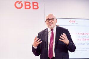 Andreas Matthä, Vorstandsvorsitzender ÖBB-Holding AG, im Rahmen der Pressekonferenz betreffend Fahrplanwechsel 2019. Foto: ÖBB / Marek Knopp