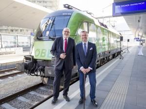 Links Andreas Matthä, CEO ÖBB, sowie Verkehrsminister Norbert Hofer anlässlich der Lok-Taufe. Foto: ÖBB Rudolph