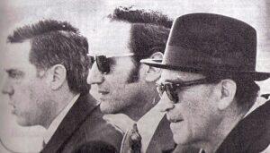 Béla Guttmann (ganz rechts) im Frühjahr 1973 als Trainer des FK Austria Wien. Neben ihm Josef Pecanka und Löwy. Foto: Nachlass Guttmann