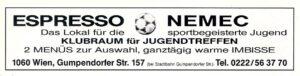 Auch als späterer Wirts-Unternehmer blieb Horst Nemec seinen Veilchen stets und treu verbunden. Im Rahmen der Austria-Stadionzeitschrift DIE WIENER VIOLETTEN fand man immer wieder sein Inserat vor. Bild: oepb