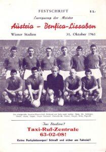 Jene 80.000 Zuschauer, die am 31. Oktober 1961 im Wiener Praterstadion der Europapokal-Begegnung zwischen dem FK Austria Wien und Benfica Lissabon beiwohnten, gelten bis heute als die höchste Besucherzahl eines Österreichischen Fußballvereins. Im Bild das Matchprogramm von damals. Sammlung: oepb