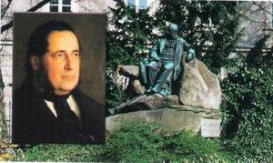 Adalbert Stifter-Gemälde von Bartholomäus Székely, sowie das Adalbert Stifter-Denkmal vor dem Linzer Landhaus an der Promenade. Foto-Collage: oepb